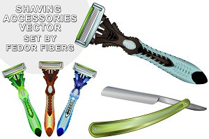 Shaving accessories vector set
