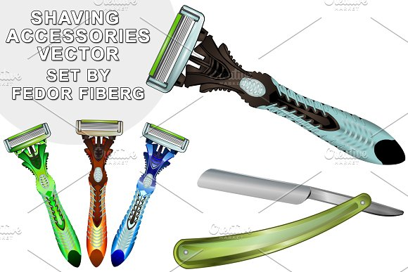 Shaving accessories vector set in Objects