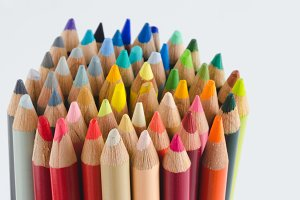 Group of colored pencils, tips.