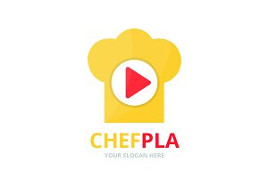 Vector button play and chef hat logo