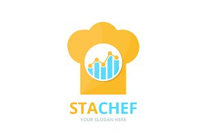 Vector graph and chef hat logo