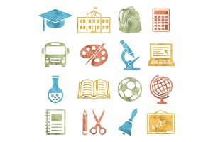 School and Education Icons Watercolor style