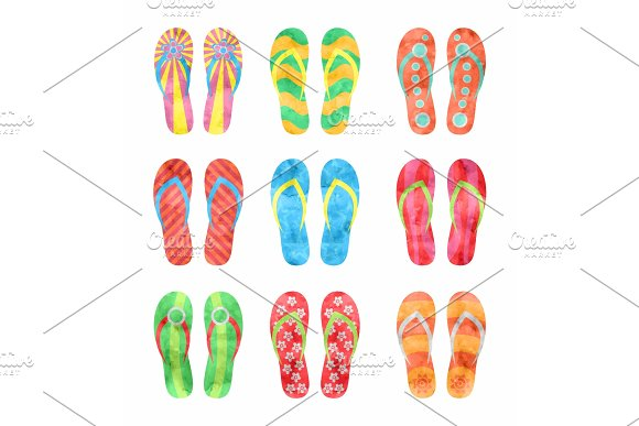 Colorful Flip Flops Set Illustration In Watercolor Style