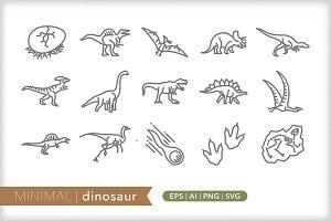 Minimal dinosaur icons