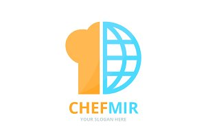 Vector chef hat and planet logo
