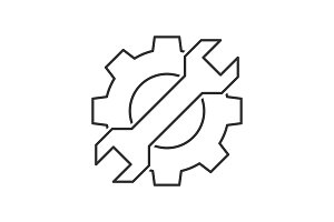 Cogwheel with wrench icon