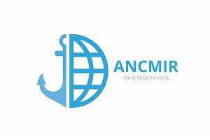 Vector anchor and planet logo