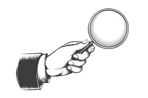 Victorian man hand with magnifying glass