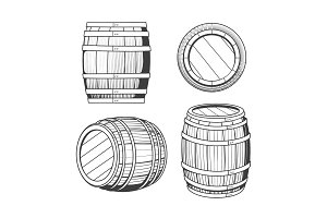 Vintage oak barrel set