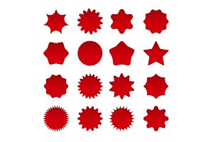 Price red star burst shapes