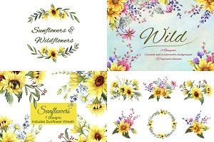 Sunflowers & Wildflowers Clip Art