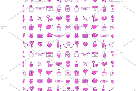 Wedding Outline Icons Seamless Pattern Background Vector Illustration Married Celebration Music Groom Invitation Elements Valentine Day Hand Drawn Ceremony Collection