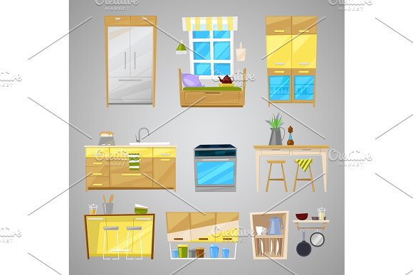 Kitchen Interior Vector Furniture And Home Appliance Of Dining Room In Furnished Interior Illustration Set Of Furnishings Design Refrigerator And Cooker Isolated On Background