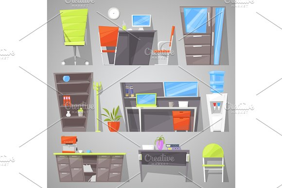 Office Furniture Vector Furnishings Design Of Table Chair Or Armchair In Furnished Interior Of Workers Cabinet Illustration Furnish Room In House For Study Or Official Work Set Isolated On Background