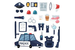 Police vector policy signs of policeman and police car illustration set of or policeofficers bulletproof vest and handcuffs in police-office symbols isolated on background