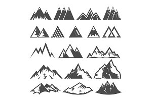 Mountain logo vector mounting logotype peak of mount and winter mountainous valleys hiking mountaineering rock climbing or traveling in alps illustration set of icons isolated on white background