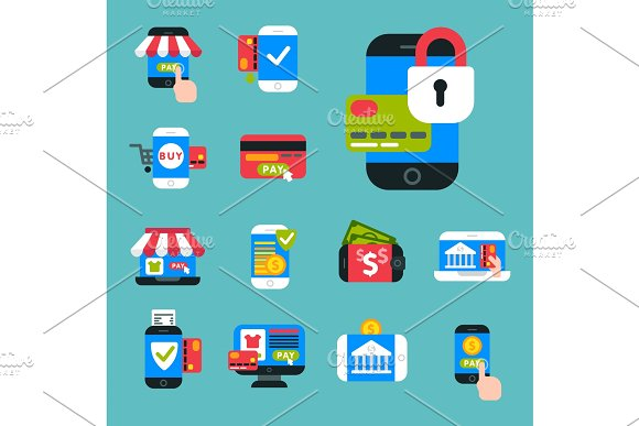 Mobile Payments Icons Vector Smartphone Transaction Ecommerce Wallet Wireless Connection Banking Card Credit Pay