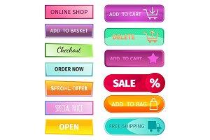 Web elements shop buttons buy element cart business banner symbol navigation menu online chart discount market retail store vector.