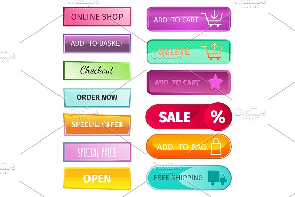 Web Elements Shop Buttons Buy Element Cart Business Banner Symbol Navigation Menu Online Chart Discount Market Retail Store Vector