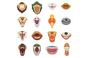 Animals mouth vector open jaw with teeth or fangs of roaring animals angry lion or cat and laughing bear with aggressive shark illustration set of animalistic beast isolated on white background