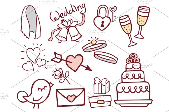 Wedding Outline Hand Drawn Icons Vector Illustration Married Celebration Music Groom Invitation Elements
