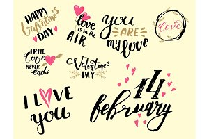 Vector I love You text overlays hand drawn valentine lettering inspirational lover quote illustration.