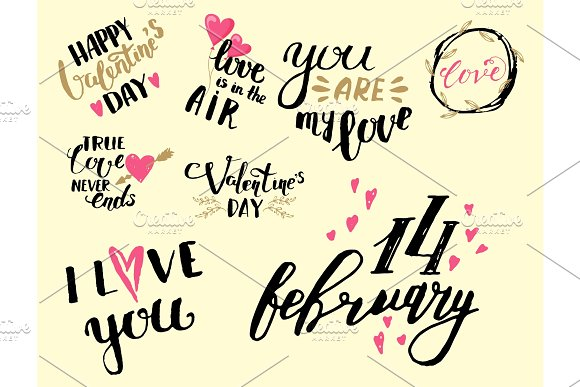 Vector I Love You Text Overlays Hand Drawn Valentine Lettering Inspirational Lover Quote Illustration