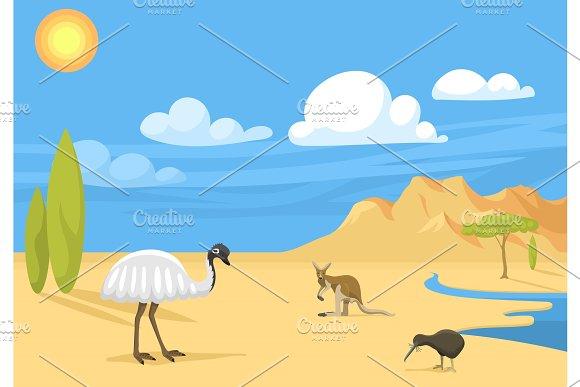 Australia Wild Background Landscape Animals Cartoon Popular Nature Flat Style Australian Native Forest Vector Illustration