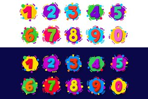 Colored cartoon numbers.