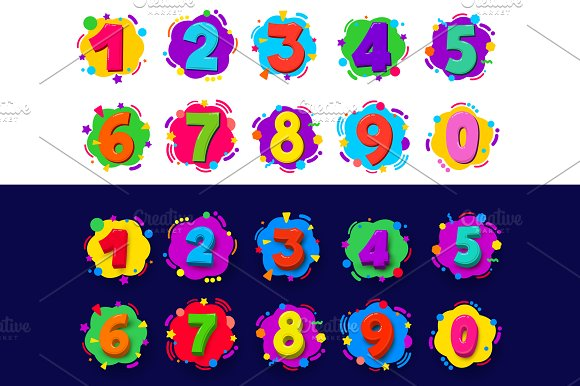 Colored Cartoon Numbers