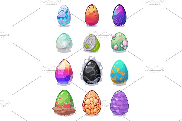 Magic Dragon Vector Colored Eggs Painted With Rainbow Pattern Multi Colored Dragon Easter Eggs Collection For Game Design Magical Ornament Spring Easter Holiday Symbol Illustration