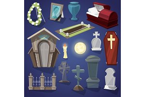 Graveyard vector scary cemetery and halloween horror in night illustration set of spooky grave or tomb and tombstone isolated on background