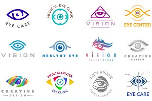 Eye logo vector eyeball icon eyes look vision and eyelashes logotype of medical care optic company supervision illustration isolated on white background