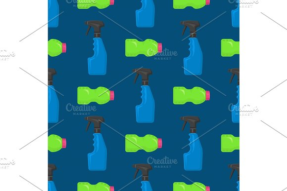 Bottles Vector Household Chemicals Supplies Cleaning Housework Plastic Detergent Liquid Domestic Fluid Bottle Cleaner Pack Seamless Pattern Background Illustration