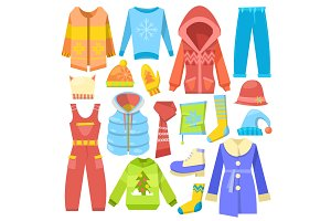 Winter clothes vector warm clothing sweater or coat with scarf and hat in wintertime illustration set of boot and outerwear isolated on white background