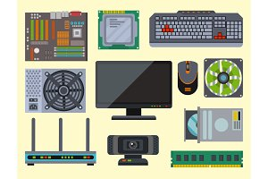 Computer parts network component accessories various electronics devices and desktop pc processor drive hardware memory card vector illustration.