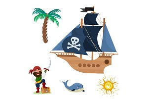 Pirate treasure vector adventure sea nautical symbols nautical character captain sailor with sword jewelry piratic illustration.
