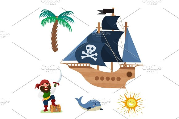 Pirate Treasure Vector Adventure Sea Nautical Symbols Nautical Character Captain Sailor With Sword Jewelry Piratic Illustration