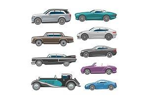Luxury car vector retro auto transport and vehicle automobile illustration set of automotive industry isolated citycar on white background illustration
