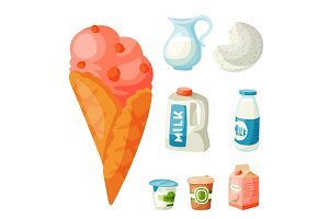 Milk dairy products vector flat style breakfast gourmet organic meal fresh diet food milky drink ingredient nutrition illustration.