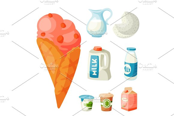 Milk Dairy Products Vector Flat Style Breakfast Gourmet Organic Meal Fresh Diet Food Milky Drink Ingredient Nutrition Illustration