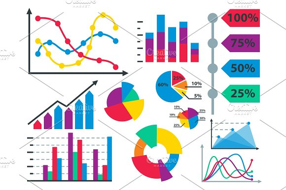 Diagram Chart Graph Elements Vector Business Infographic Flow Sheet Data Template Arrows And Circle Progress Diagrammatic Report