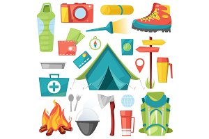 Camping vector camp adventure for tourism and travelling in forest illustration set of campground equipment and campfire isolated on white background