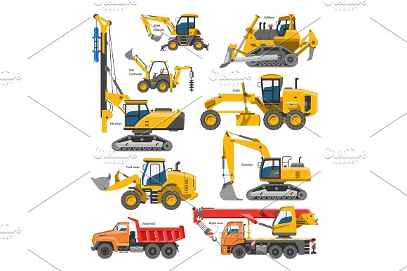 Excavator For Construction Vector Digger Or Bulldozer Excavating With Shovel And Excavation Machinery Industry Illustration Set Of Constructive Vehicles And Digging Machine Isolated On White