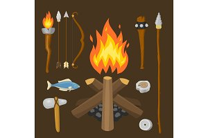 Stone age vector aboriginal primeval historic hunting primitive people weapon and house life symbols illustration.