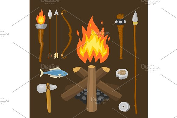 Stone Age Vector Aboriginal Primeval Historic Hunting Primitive People Weapon And House Life Symbols Illustration