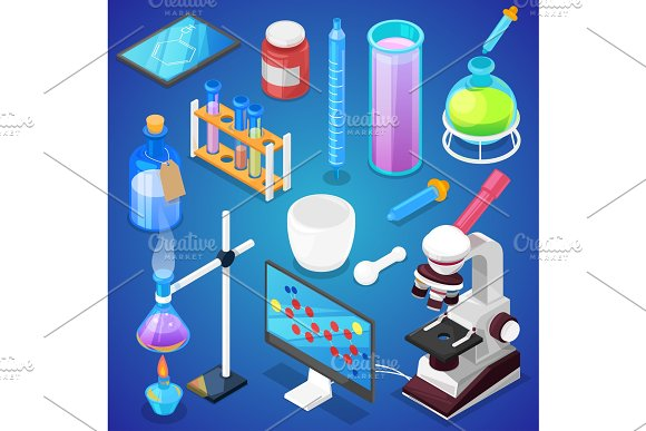 Chemistry Vector Chemical Science Or Pharmacy Research In Laboratory For Technology Or Experiment In Laboratory Illustration Set Of Lab Scientific Equipment Isolated On Background