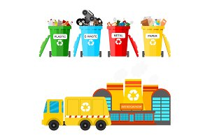 Waste recycling vector garbage process factory truck brought processing industry processed manufacturing production illustration.