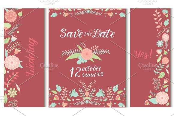 Wedding Invitation Card Vector Save The Date Suite With Flower Templates Day Marriage Handmade Lettering Print Layout Design Illustration