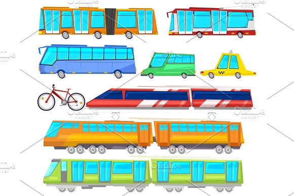 Transport Vector Public Bus Or Train Transported Passengers And Car Or Bicycle For Transportation In City Illustration Set Of Transportable Machines Isolated On White Background